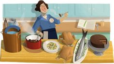 "Google Doodle Celebrates Julia Child's 100th Birthday, the woman who made America fall in love with French cuisine.  The Doodle illustrates her wide grin, as she simultaneously prepares fish, soup, two chickens and a cake.  The chef, author and TV personality is Credited with introducing French cooking to American palette through her  Cookbook ""Mastering the Art of French Cooking"" in 1963. She later hosted PBS' first cooking show ""The French Chef"". --- August 15, 2012"