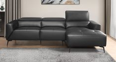 """Homelegance 9499BLK-SC 2 pc Argonne black top grain leather match sectional sofa with chaise and adjustable headrests. This set includes the LAF love seat with adjustable headrest and RAF chaise. Features 100% top grain leather where your body touches and leather match on the backs and sides. Sectional measures 102"""" x 67.5"""" L chaise x 38.25"""" x 27.5"""" - 36.5"""" H. Some assembly required."""