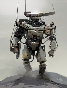 yalnız fok balığı: Illustrations by Ian Mcque Character Concept, Concept Art, Character Design, Military Robot, Steampunk, Robot Illustration, Arte Robot, Cool Robots, Robot Design