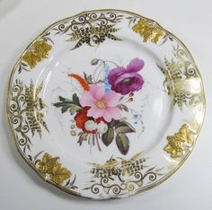 … E kl ec kt ic s … Item : Five Antiques Limoges Hand-Painted Cabinet Plates Description : These are exquisite with a raised grape and grape leaf border and a slightly rippled edge. the painting is b