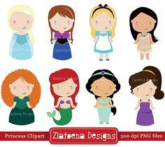 Princess Digital Clipart 2 / Cute Princess Clip Art / by Zlatoena
