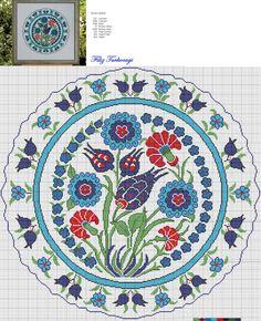 """Filiz Türkocağı, Author of """"Embroidery in Iznik pottery style (Turkey)"""" Cross Stitch Pillow, Cross Stitch Charts, Cross Stitch Designs, Cross Stitch Patterns, Cross Stitching, Cross Stitch Embroidery, Embroidery Patterns, Hand Embroidery, Stitch Crochet"""