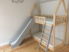 Cots – Bunk Bed House Bed Slide – a unique piece by Minimidi at … - bunk beds Cot Bunk Bed, Toddler Bunk Beds, Diy Toddler Bed, Toddler Rooms, Kid Beds, Kura Bed, Baby Bunk Beds, Ikea Bunk Bed, Bunk Bed Plans