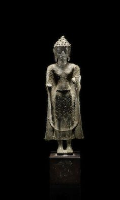 A standing Figure of Buddha Thailand, Mon Dvaravati style, Century Laos, Art Thai, Standing Buddha, 12th Century, Auction, Bronze, Sculpture, Fine Art, Buddha Statues