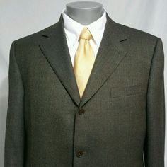 CANALI 46R Mens Sport Coat Brown 100% Wool Made in Italy Blazer Barely Worn #Canali #ThreeButton
