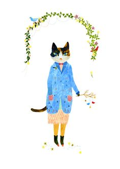 Aiko Fukawa calico cat dress up cute kawii illustration kitty drawing cool amazing creative idea