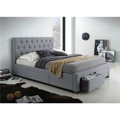 Vasa Fabric Upholstered Queen Bed with Side and End Drawers - Grey