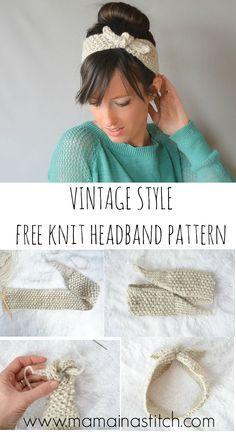 Vintage Knit Tie Headband Pattern - easy, free knitting pattern for a cute…
