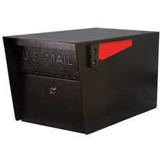 Rated very highly/ expensive/ lowes / baffle door for safe delivery of small packages and mail / Mail Manager�10-3/4-in x 11-1/4-in Metal Black Lockable Post Mount Mailbox