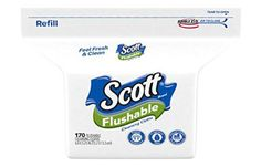 Scott Flushable Wipes, Fragrance-Free, Refill Bag with 170 Wet Wipes Total Feminine Wipes, Wet Wipe, Fragrance, Stuff To Buy, Bag, House, Free, High Road, Towels