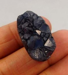 25 Cts. Natural Dyed Blackl Crystal Druzy Agate Loose Cabochon Gemstone AAE48