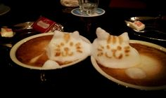 3D Latte Art 2 Cats 2 Cups