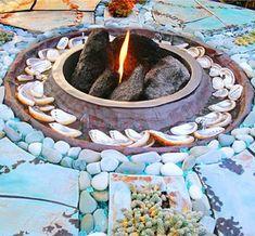 Gartendekoration selber machen - gartendekoration selber machen offene feuerstelle muscheln steine