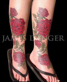 Leg rose tattoo