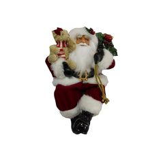 Traditional 16.5-in. Sitting Santa Figurine Table Decor, Red