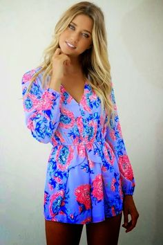 Adorable color ladies flowery mini dress inspiration | Fashion And Style