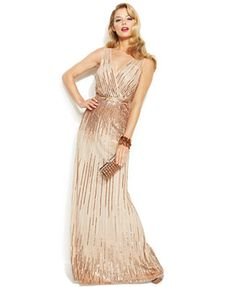 Adrianna Papell Sleeveless Sequin Illusion Gown - GORG - Champagne - Only Sizes 10-12-14 left, booo - $300