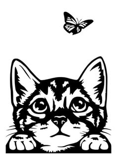 Drawing Cartoon Faces, Cartoon Clip, Cat Drawing, Cricut Craft Room, Cricut Vinyl, Silouette Cameo Projects, Animal Stencil, Image Chat, Dog Silhouette