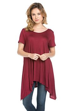 Frumos Womens Short Sleeve Comfy Loose Fit Handkerchief Hem Tunic Top *** Continue to the product at the image link.