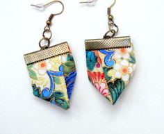 Kimono Exceptional fabric earrings by Gilgulim on Etsy, $14.80