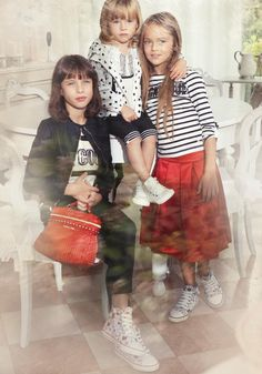 TWIN-SET Simona Barbieri: Leatherette jacket with sequin text T-shirt, contrasted edging pants and mini Cécile bag, all-over heart sneakers. Heart-motif jacket with top+leggings suit, heart-motif sneakers. Striped T-shirt with duchess skirt, all-over heart sneakers