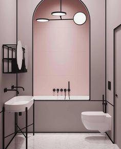 Utiliser le rose dans la déco des toilettes | My Blog Deco Interior Modern, Bathroom Interior Design, Interior Decorating, Inspiration Photography, Photography Projects, Bad Inspiration, Shower Fixtures, Interior Minimalista, Bathroom Trends