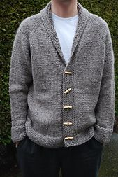 """Ravelry: """"Sophisticate"""" adult cardigan knitting pattern by Linden Down Mens Knitted Cardigan, Knit Cardigan Pattern, Shawl Collar Cardigan, Sweater Knitting Patterns, Knitted Shawls, Knitting Designs, Hand Knitting, Pullover Sweaters, Men's Cardigans"""