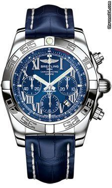 Breitling Chronomat 44 Stainless Steel Polished Bezel $6,625  Riviera blue dial with blue subdials #blue #watches #watch #trend #men #jeans