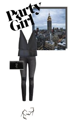 """""""Night out in Manhattan"""" by easewithabigail ❤ liked on Polyvore featuring H&M, Louis Vuitton, Giuseppe Zanotti, Yves Saint Laurent, women's clothing, women, female, woman, misses and juniors"""