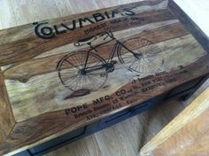 antique bicycle vintage clip art added to wooden coffee table. 17 Transfer Projects - Tables - The Graphics Fairy