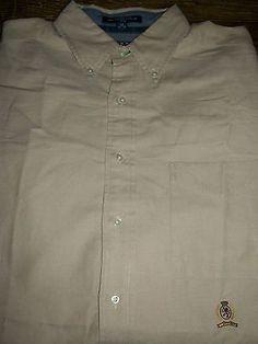 Tommy Hilfiger Mens L 16 1/2 34-35 Long Sleeve Button Front Shirt Pocket Cotton