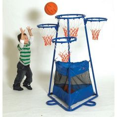 Children's Factory 4-Rings Basketball Stand with Storage Bag - BA9001