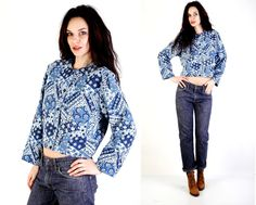 #Vintage #Blue #Paisley #Floral #Print #Crop #Buttoned #Jacket Size M / L by #Ramaci on Etsy