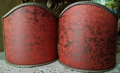 Pair of Clip-On Shield Shades Coral Red Jacquard Rubelli Fabric Lacca Pattern Mini Lampshade - Made in Italy by OggettiVeneziani on Etsy