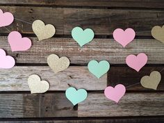 Mint Gold and Light Pink Garland Hearts Baby by BlueOakCreations