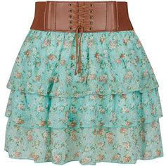 Teens Mint Green Ditsy Floral Rara Skirt ❤ liked on Polyvore featuring skirts, saias, stretch belt, mini skirt, stretchy belts, layering cami и green skirt