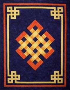 """Gateway to Mongolia - Finished Size: 52 1/2"""" x 40 1/2"""" - Skill Level: Advanced - BeginnerThe Gateway to Mongolia quilt pattern features the traditional Mongolian Olzii motif with decorative border often found painted on the doors of gers (Mongolian yurts). It is thought to bring long life and prosperity, and to drive away wild beasts and evil spirits. In Tibetan Buddhism, which is practiced in Mongolia, this never-ending knot symbolizes the universe and the unending cycles of life and death."""