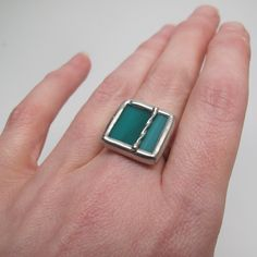 Twisted Teal - Sterling Silver Stained Glass Ring - Size 7.5 by faerieglass on Etsy