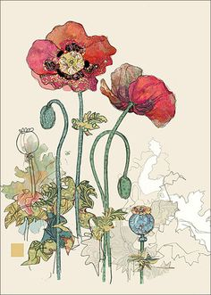 BugArt Collage ~ Two Red Poppies. Collage *NEW* Designed by Jane Crowther.