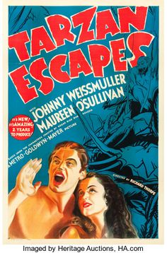 Best Film Posters : Movie Posters:Adventure Tarzan Escapes (MGM One Sheet X Tarzan Series, Tarzan Movie, Movie Tv, Cinema Movies, Movie Theater, Vintage Movies, Vintage Posters, Maureen O'sullivan, Tarzan Of The Apes