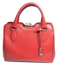 ABRO Purse Red Medium Size Double handle Bag MSRP $298 Italian handbag  #ABRO #Satchel