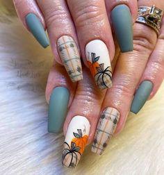 Plaid Nail Designs, Fall Nail Art Designs, Burgundy Nail Designs, Thanksgiving Nail Designs, Thanksgiving Nails, Fall Toe Nails, Autumn Nails, Halloween Acrylic Nails, Fall Acrylic Nails