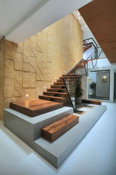 Image 4 of 26 from gallery of The Axial House / VM Architects. Photograph by Running Studios Stair Railing Design, Home Stairs Design, Duplex House Design, Home Building Design, Interior Stairs, Home Room Design, Modern House Design, Home Interior Design, Exterior Design