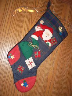 Christmas Holiday Stocking Santa Denim