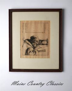 Original 1921 WILLIAM AUERBACH LEVY (1889-1964) FRAMED ETCHING Mordecai Rabbi #Impressionism