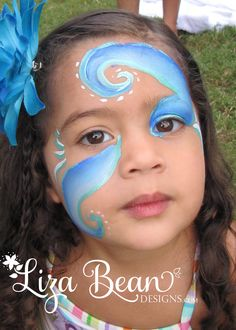 """Wave"" Face Painting Design for a Mermaid Themed Party"