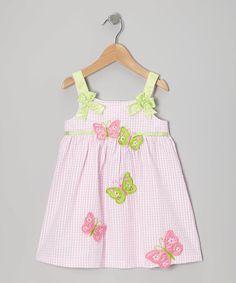 This Light Pink Butterfly Seersucker Dress - Toddler is perfect! #zulilyfinds