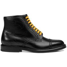 Gucci Leather Crab Brogue Boot (€940) ❤ liked on Polyvore featuring men's fashion, men's shoes, men's boots, boots, men, shoes, mens leather boots, mens flat shoes, gucci mens boots and mens side zip boots