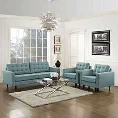Empress Sofa and Armchairs Set of 3, Laguna - End the rule of unjust sovereignties that wage a useless war for your interiors. Empress leaves the would be heiress of holistic furnishings in the dust, with a design that rivals any competitor. Empress is heralded with deeply tufted buttons, plush cushions and armrests that convey that perfect air of nobility. The solid wood legs come with plastic glides to prevent floor scratching, and the fine fabric upholstery leaves the recipients feeling…