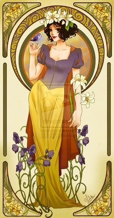 Disney Princesses Mucha Style Pin-Up Art